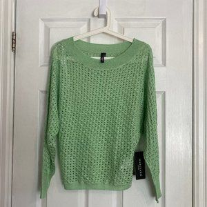 Marciano Green Sparkly Open-Stitch Sweater